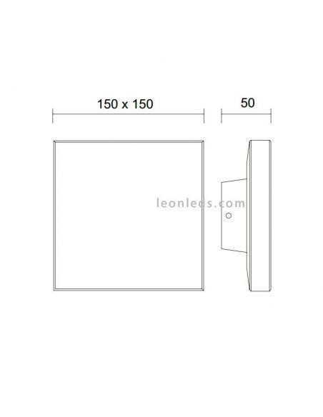 Dimensiones de Aplique LED cuadrado serie Bora de Mantra 6536 6537 | Apliques LED de exterior