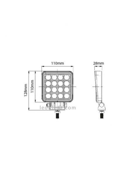 Dimensiones de Faro LED cuadrado CA5741 | LeonLeds Faros LED de trabajo