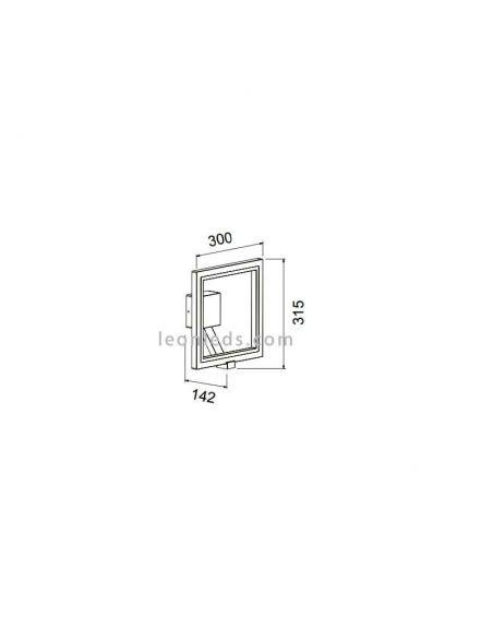 Dimensiones de Aplique LED para exterior en forma cuadrada y estilo 3d | LeonLeds Apliques LED exterior