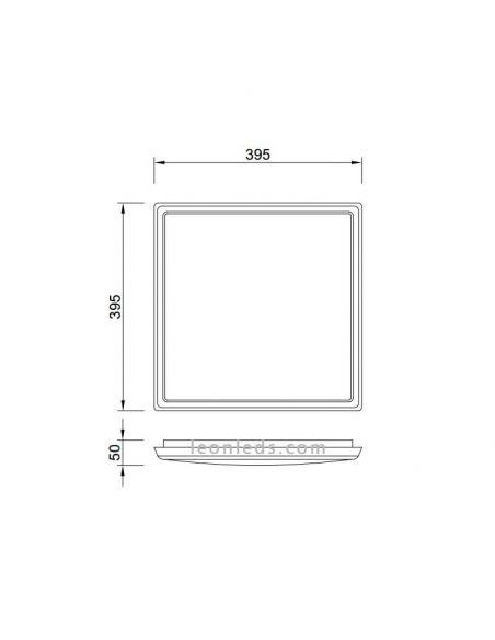 Dimensiones de Plafon LED exterior 24W | LeonLeds Plafones exterior