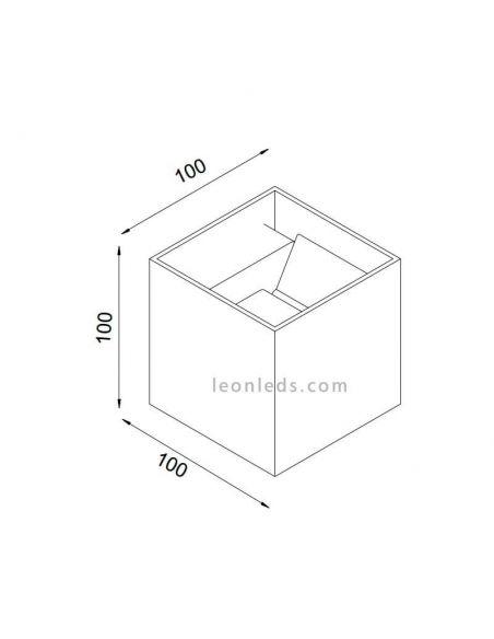 Dimensiones de Aplique LED cuadrado de exterior Davos de Mantra | LeonLeds Iluminación exterior