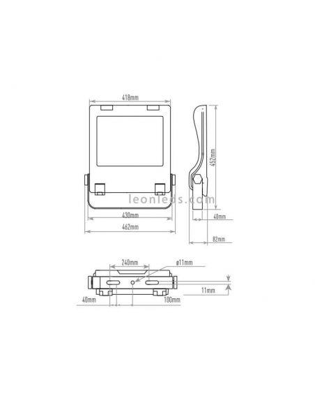 Dimensiones Foco LED exterior Cree CFL 250w | LeonLeds Focos LED exterior