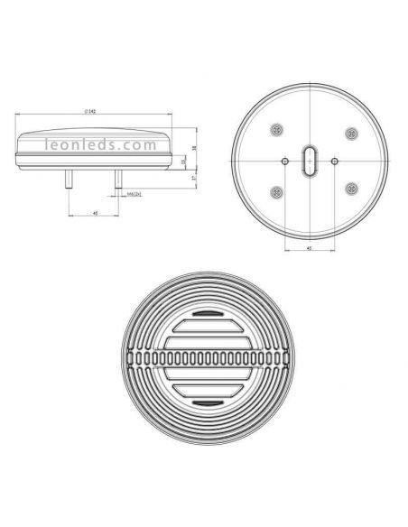 Dimensiones de Piloto LED trasero Was New 2019 | LeonLeds Lighting