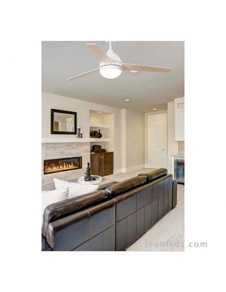 ✅ Ventilador de techo Blanco con luz Tabarca | LeonLeds Ventiladores de techo con luz