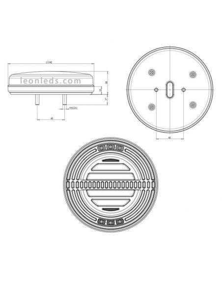 ✅ Dimensiones Pilotos LED redondo 5 funciones | LeonLeds Pilotos trasero LED