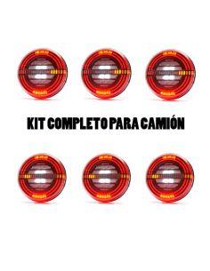 ✅ Kit de 6 Pilotos LED traseros con 5 funciones | LeonLeds Pilotos LED redondos traseros