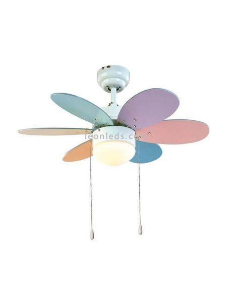 Ventilador de Techo infantil Rainbow de colores  al mejor precio | LeonLeds.com