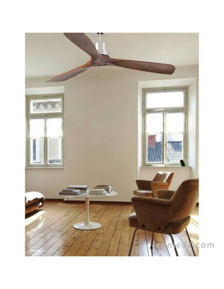 ✅ Ventilador de techo Lantau de Faro Barelona Nogal Oscuro 33370 | Ventiladores de techo Faro Barcelona