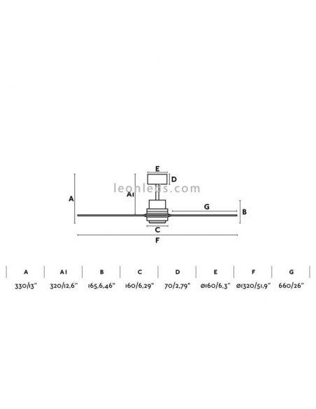 ✅ Dimensiones de Ventilador de Techo Lantau 33370 | Leonleds Ventiladores Faro