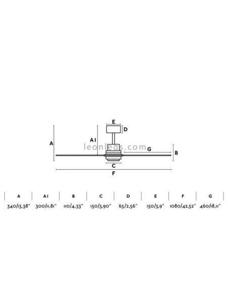 ✅ Dimensiones de Ventilador de techo Mini Pino Lantau MINI 33509 | LeonLeds