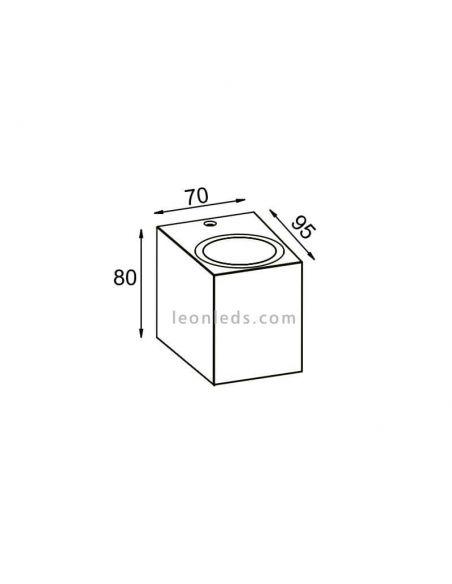 Dimensiones Aplique cubo exterior Kandanchú | LeonLeds