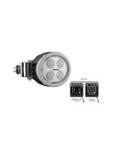 Faro de Trabajo LED Horizontal John Deere New Holland Hella Wesem Gris y Negro IP68 EMC | LeonLeds Iluminación