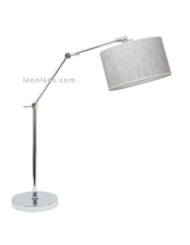 Lámpara de sobremesa articulada gris y cromada | LeonLeds Lámparas