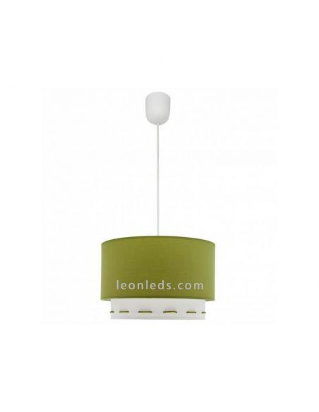 Lámpara de Techo Verde y Blanca Trazos | LeonLeds