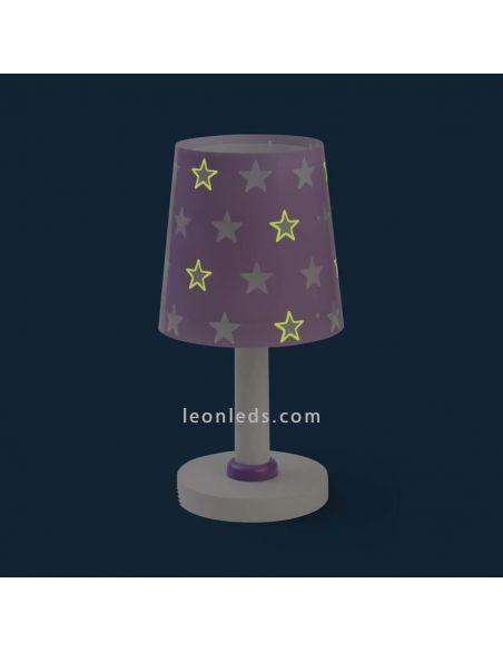 Lámpara de sobremesa serie Stars Malva brilla en la oscuridad | LeonLeds