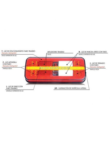 Piloto trasero LED rectangular 5 funciones Was