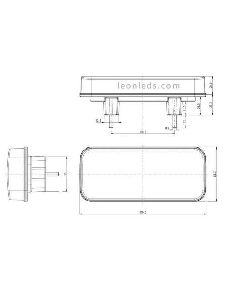 Dimensiones de Piloto LED trasero con luz de matricula lateral