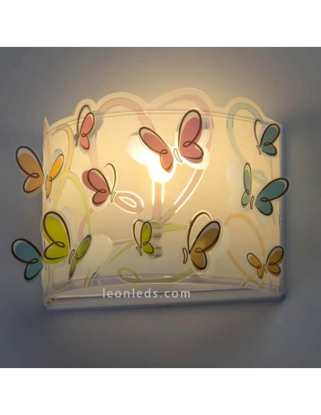 Aplique infantil serie Butterfly con interruptor y enchufe para instalar pared interior con mariposas de colores LeonLeds
