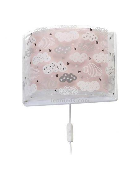 Aplique de pared rosa serie Clouds de Dalber 41417S | ® LeonLeds Apliques