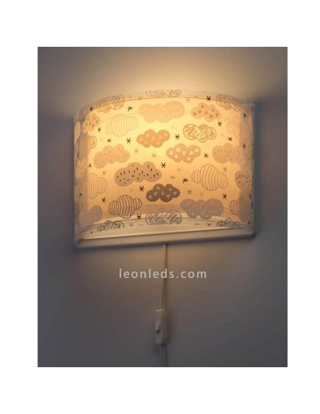 Aplique de pared con interruptor rosa serie Clouds de Dalber 41417S | ® LeonLeds Apliques
