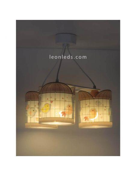 Lámpara colgante 3 luces de diseño infantil serie Little Birds   LeonLeds