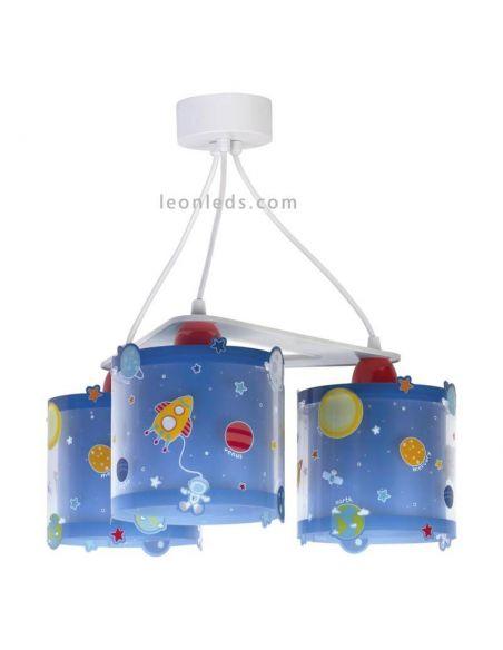 Lámpara de techo con los planetas del sistema solar con 3 pantallas serie Planets de Dalber | LeonLeds