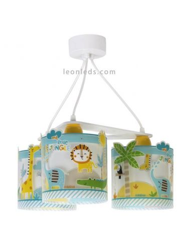 Lámpara de techo infantil 3 luces serie My Little Jungle de dalber | LeonLeds