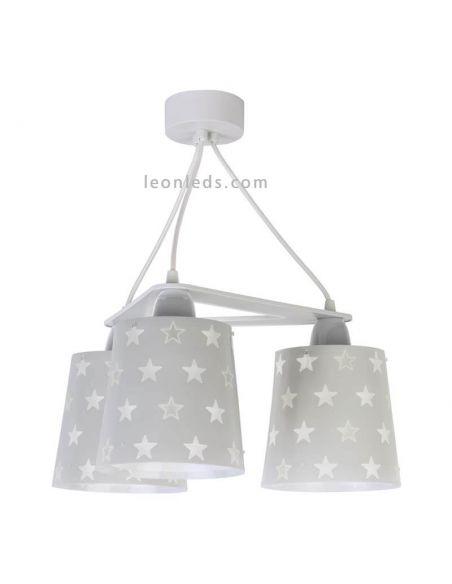 Lámpara de techo infantil con 3 pantallas de color Gris serie Stars   LeonLeds