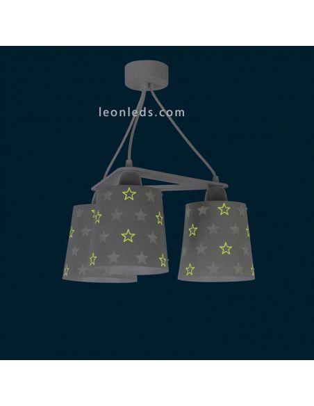 Lámpara de techo 3 luces decorada con estrellas que brillan en la oscuridad   LeonLeds