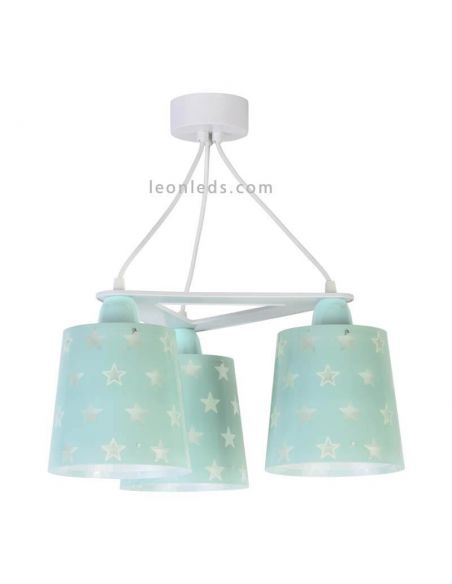 Lámpara de techo infantil que brilla en la oscuridad con estrellas y 3 pantallas de color verde | LeonLeds