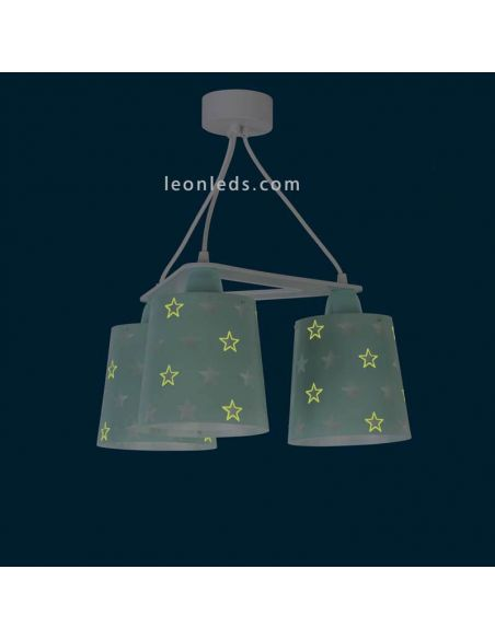 Lámpara de techo infantil con estrellas y 3 pantallas de color verde | LeonLeds
