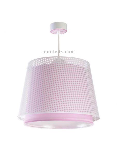Lámpara de techo rosa de diseño infantil de Vichy de Dalber 80222S | Ⓡ LeonLeds