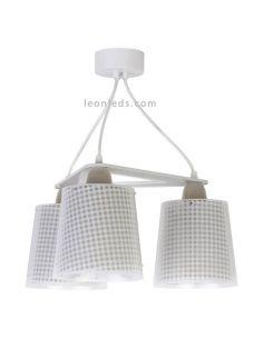Lámpara infantil de techo 3 luces serie vichy Beige | LeonLeds