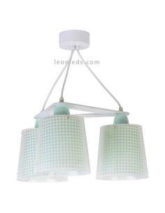 Lámpara de techo 3 luces verde serie Vichy de Dalber | LeonLeds