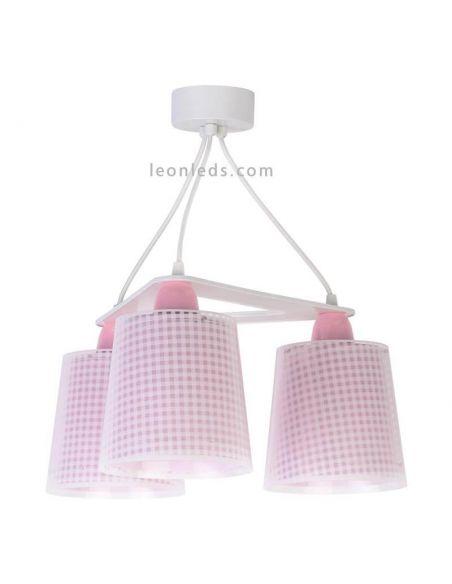 Lámpara de techo 3 luces Rosa de diseño infantil serie Vichy de Dalber | LeonLeds