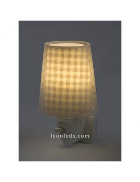 Luz de noche LED Beige Vichy con interruptor | LeonLeds Lighting