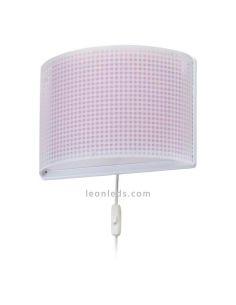 Aplique de pared con interruptor rosa serie Vichy de Dabler | LeonLeds ®