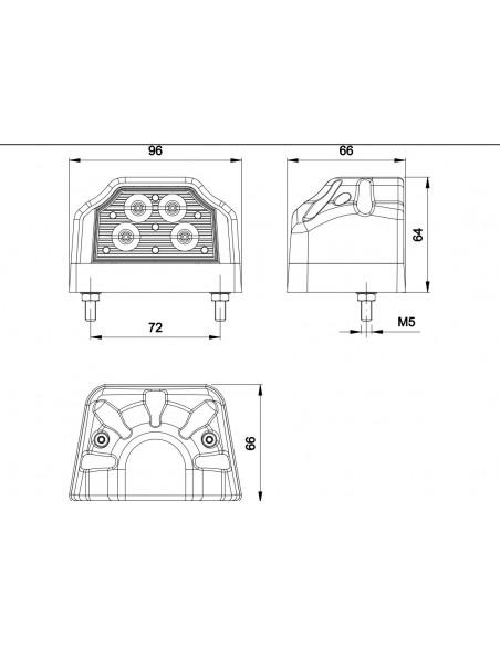 Dimensiones de Piloto LED trasero de matricula Fristom FT031   LeonLeds Iluminación LED