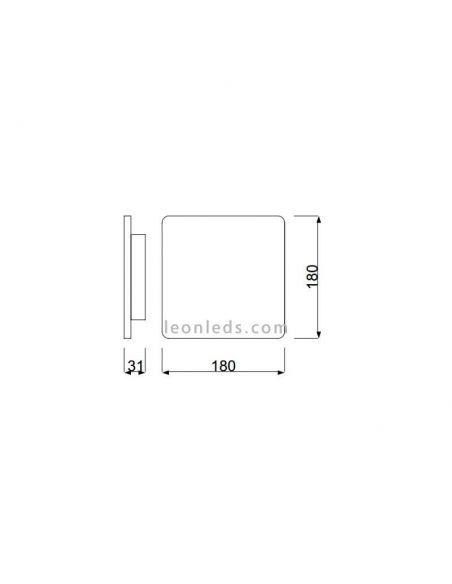 Dimensiones Aplique LED cuadrado plateado