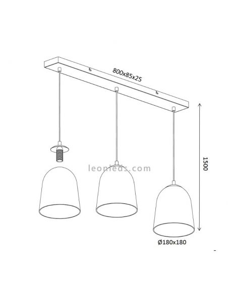 Dimensiones Lámpara de techo 3 luces Trio Lighting Ontario