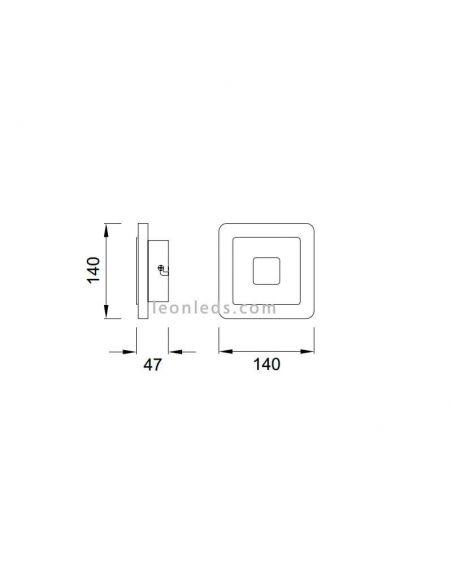 Dimensiones Aplique LED cuadrado Sol de Mantra 5124