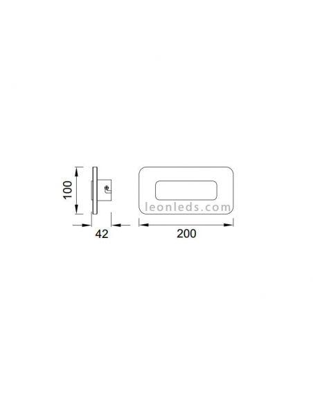 Dimensiones de Aplique LED rectangular SOL  de Mantra 5125