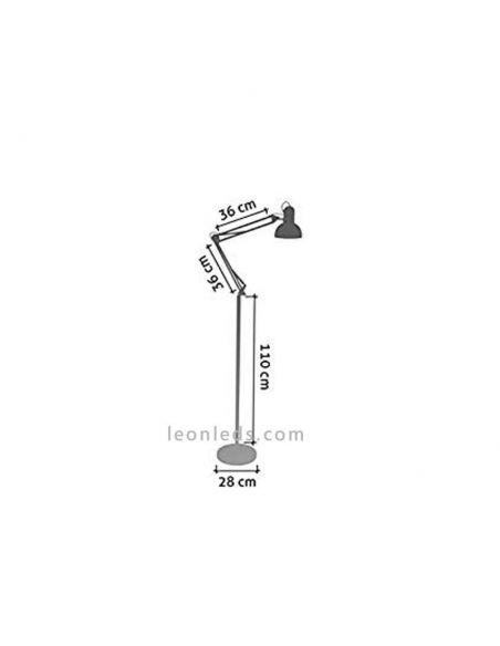 Flexo de Pie Antigona Articulable Negro y Cromo para 1 bombilla E27 | LeonLeds.com