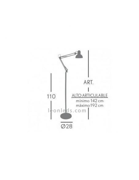 Flexo de pie articulable blanco y Cromo serie Antigona   LeonLeds Iluminación