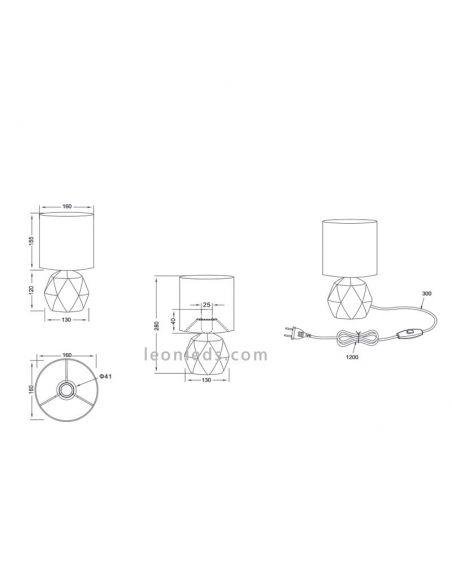 Dimensiones de Lámpara de mesa Cemento Pike R50831002 Trio Lighting