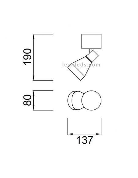 Dimensiones foco Orientable serie Kos de Mantra 5849