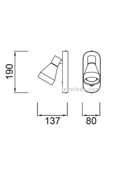 Dimensiones Aplique con interruptor blanco Kos 5847 | LeonLeds