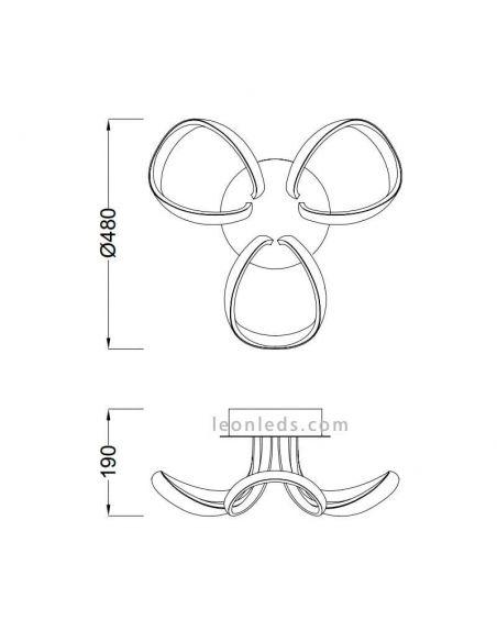 Dimensiones Plafón LED Knot de Mantra 4989 4994