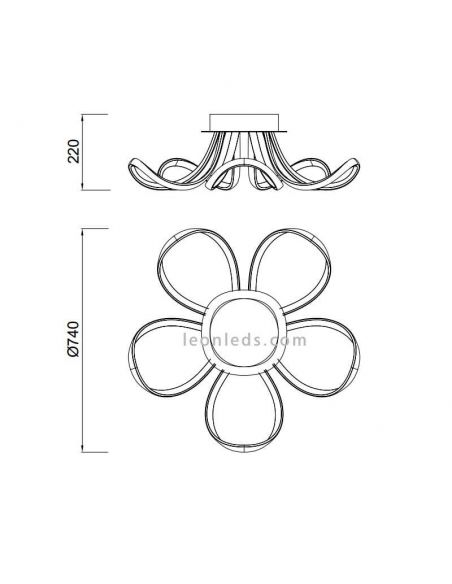 Dimensiones Plafón LED potente blanco Knot de Mantra 6037 | LeonLeds