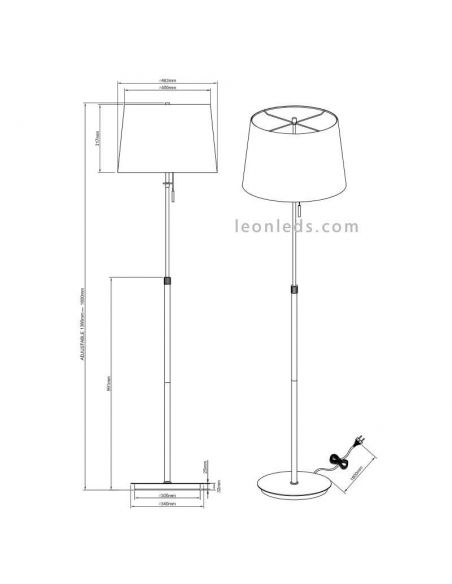 Dimensiones de Lámpara de Pie clásica Níquel mate Lyon